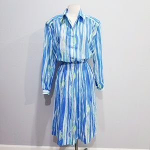 Vintage 80's retro semi sheer stripe dress